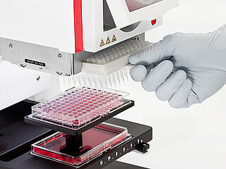 TipTray for CyBio Selma in use